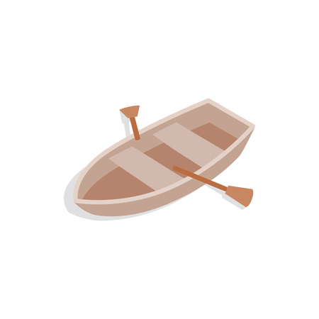 3d boat: Boat with oars icon in isometric 3d style isolated on white background. Maritime transport symbol