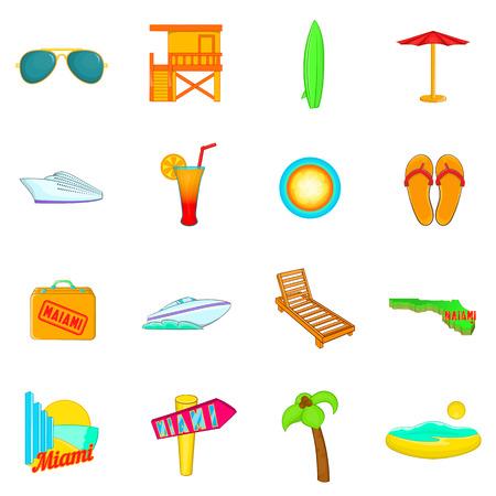 miami florida: Miami icons set in cartoon style. Miami Beach, Florida set collection vector illustration