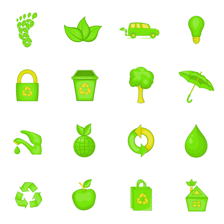 Nature icons set in cartoon style. Ecology, eco set collection vector illustration Illustration