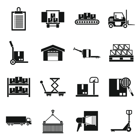 Logistic icons set in simple style. Warehouse and storage set collection vector illustration