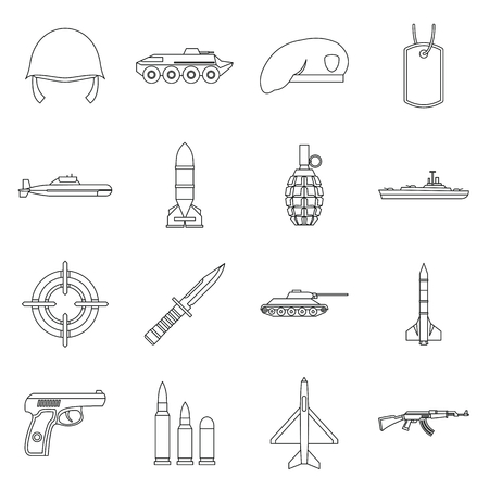 Military icons set in outline style. Army equipment set collection vector illustration