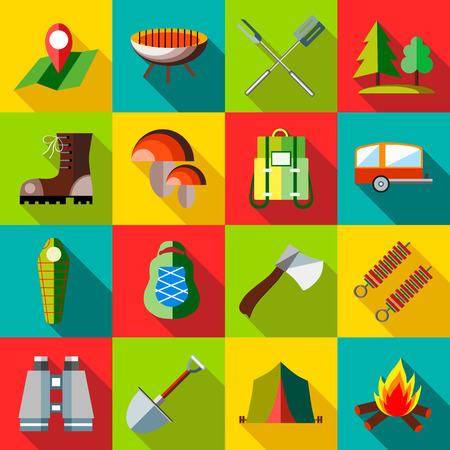 Camping icons set in flat style. Recreation tourism set collection vector illustration
