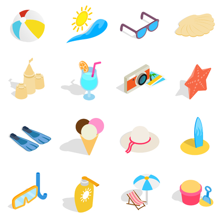 Beach icons set in isometric 3d style. Summer holiday elements set collection vector illustration Illusztráció