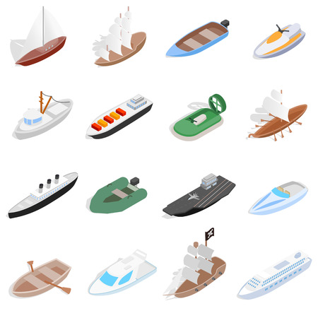 Ship and boat icons set in isometric 3d style. Sailing elements set collection vector illustration
