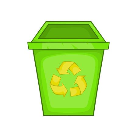 Eco dustbin icon in cartoon style isolated on white background. Ecology symbol Illustration