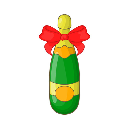 Bottle of champagne icon in cartoon style isolated on white background. Drink symbol Illustration