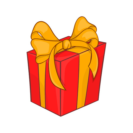 Holiday gift box icon in cartoon style isolated on white background. Souvenir symbol