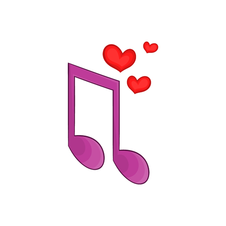 love song: Love song icon in cartoon style isolated on white background. Romance symbol Illustration