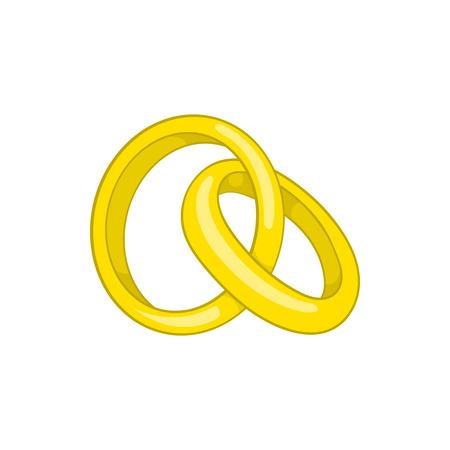 Engagement rings icon in cartoon style isolated on white background. Wedding symbol