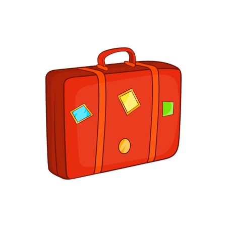 luggage carrier: Suitcase icon in cartoon style isolated on white background. Luggage symbol