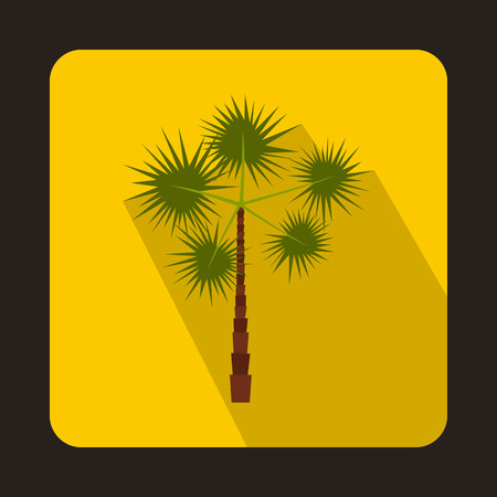 subtropical: Palm tree icon in flat style on a yellow background Illustration