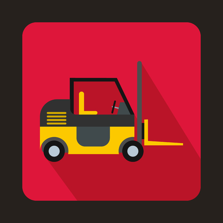 stockpile: Stacker loader icon in flat style on a pink background