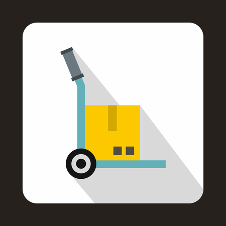 hand cart: Hand cart with cardboard icon in flat style on a white background