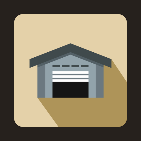 transportation facilities: Warehouse with open door icon in flat style on a beige background