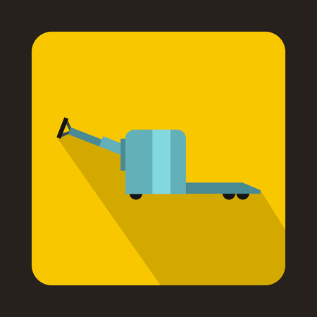 Manual forklift pallet stacker truck icon in flat style on a yellow background Illustration