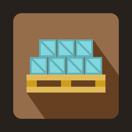 to unload: Boxes on wooden palette icon in flat style on a coffee background