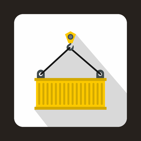 Crane lifts yellow container icon in flat style on a white background Illustration