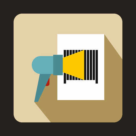 barcode scanner: Barcode scanner icon in flat style on a beige background