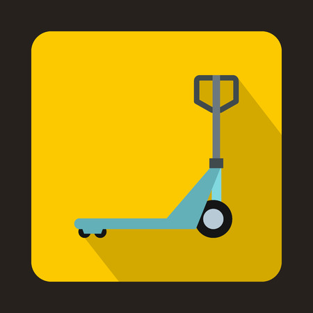 operated: Hand pallet truck icon in flat style on a yellow background