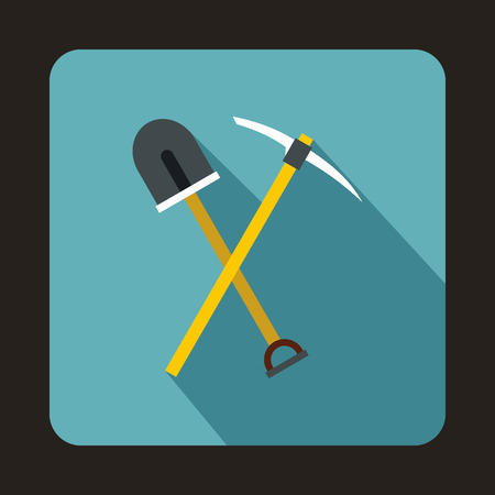 mattock: Pick tool and shovel icon in flat style on a baby blue background