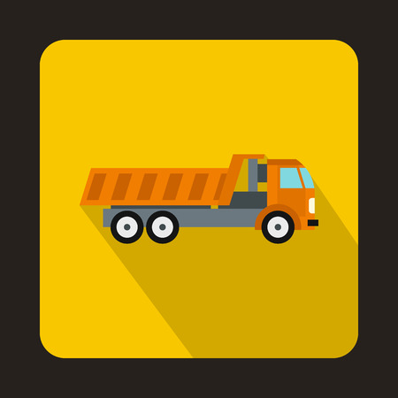 dumping: Orange dump truck icon in flat style on a yellow background Illustration