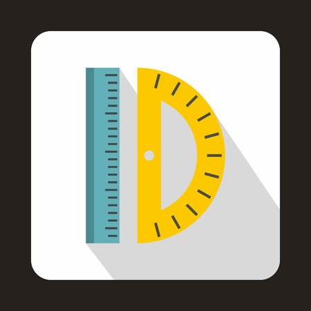 millimeters: Ruler and protractor icon in flat style on a white background Illustration