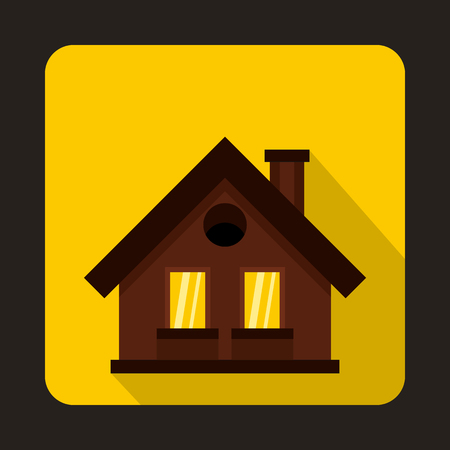 suburban street: Small brown cottage icon in flat style on a yellow background