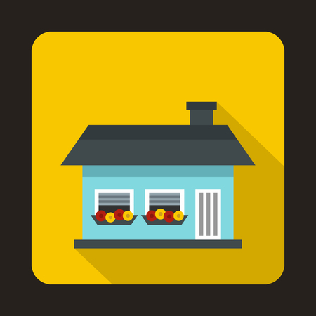 single dwellings: Small blue cottage icon in flat style on a yellow background