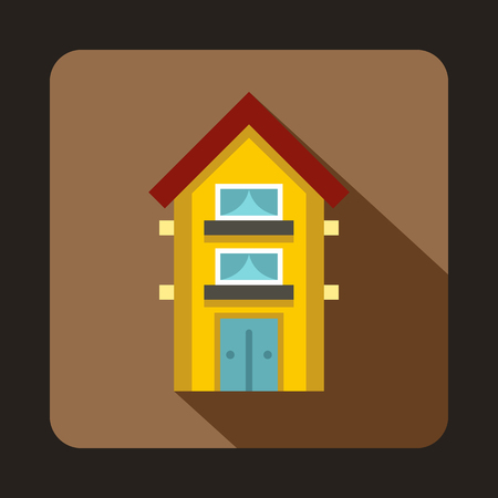 two storey house: Yellow two storey house icon in flat style on a coffee background