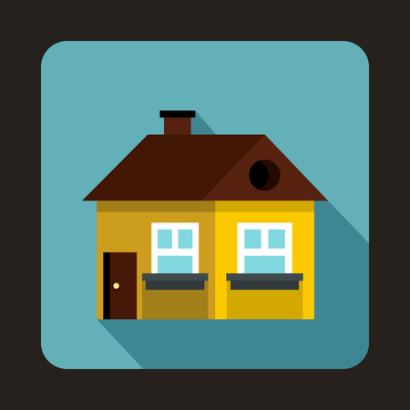 porch: Yellow cottage icon in flat style on a baby blue background