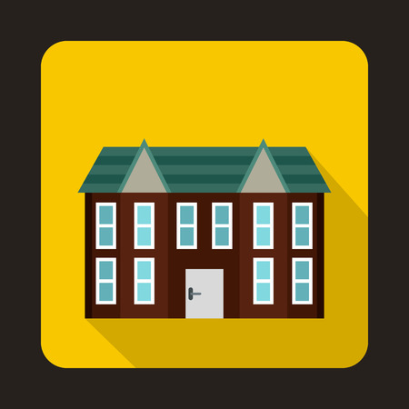 two storey: Brown two storey house icon in flat style on a yellow background Illustration