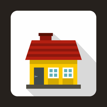 suburban street: Small yellow cottage icon in flat style on a white background