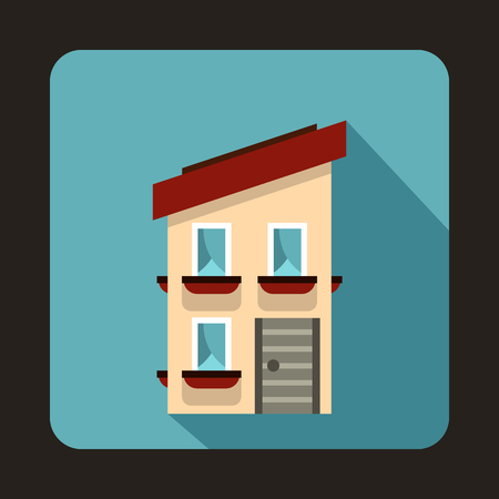 family in front of house: Two storey house with a sloping roof icon in flat style on a baby blue background Illustration