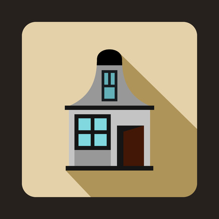 two storey: Gray cottage icon in flat style on a beige background