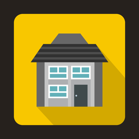two storey: Grey two storey house icon in flat style on a yellow background Illustration