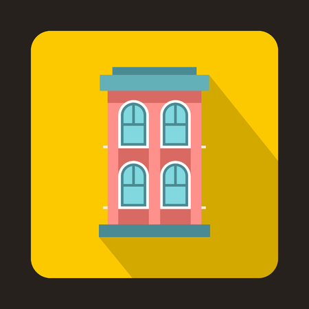storey: Pink two storey house icon in flat style on a yellow background Illustration