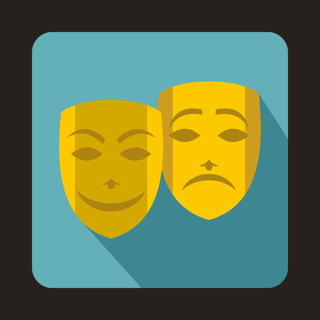 comedy and tragedy: Comedy and tragedy theatrical masks icon in flat style on a baby blue background