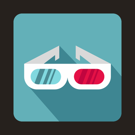 side effect: 3D cinema glasses icon in flat style on a baby blue background