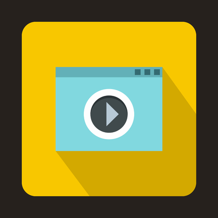 windows media video: Video movie media player icon in flat style on a yellow background