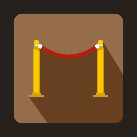 barrier rope: Red barrier rope icon in flat style on a coffee background