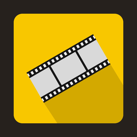 Film strip icon in flat style on a yellow background