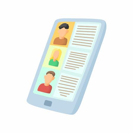 Zie hervatten op tablet icoon in cartoon-stijl op een witte achtergrond. zoeken symbool