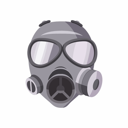 흰색 배경에 고립 된 만화 스타일의 가스 마스크 아이콘. 장비 기호
