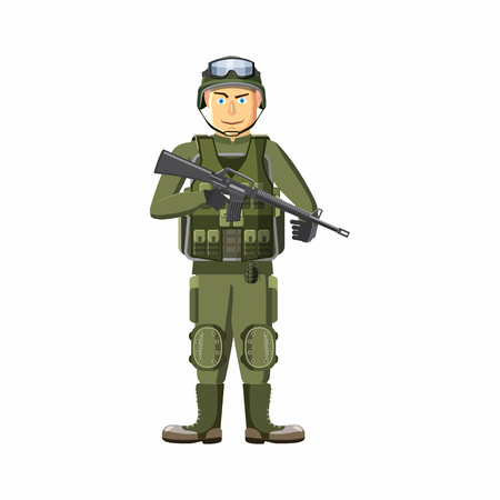 sergeant: Soldier with weapons icon in cartoon style isolated on white background. People symbol Illustration
