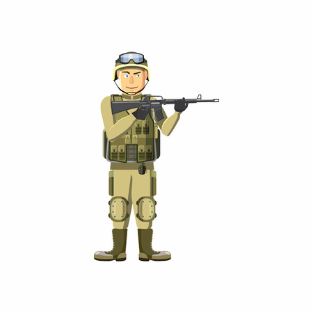 infantryman: Infantryman with weapons icon in cartoon style isolated on white background. People symbol