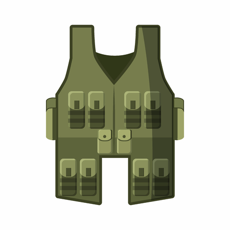 vest in isolated: Vest icon in cartoon style isolated on white background. Equipment symbol