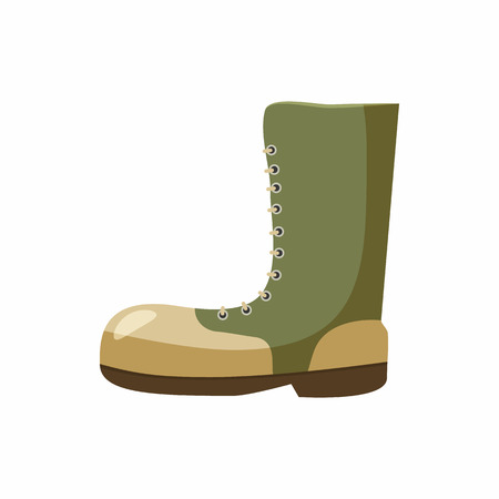 army boots: Army boots icon in cartoon style isolated on white background. Equipment symbol Illustration