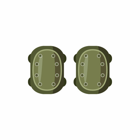knee pads: Military knee pads icon in cartoon style isolated on white background. Equipment symbol