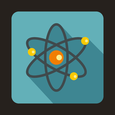 electrons: Atom with electrons icon in flat style on a baby blue background Illustration