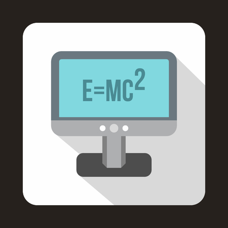 relativity: Computer monitor with the Theory of Relativity formula icon in flat style on a white background